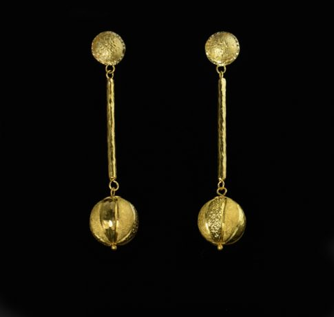 22K GOLD CHASING AND REPOUSSÉ BALLDROP EARRINGS